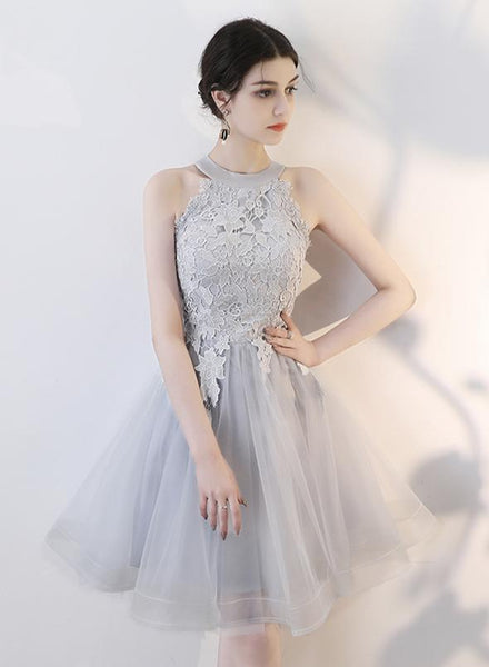 Cute gray tulle short homecoming dress party dress   cg11114