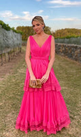 Pink Prom Dress,A-Line Prom Gown,Chiffon Evening Dress,V-Neck Prom Gown   cg11119