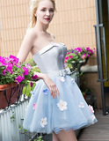 A-Line Strapless Short Light Blue Tulle Homecoming Dress with Flowers,Simple Homecoming Dresses cg1111