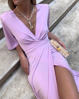 Purple v neck long prom dress with split   cg11125