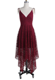 A-Line V-Neck Burgundy Lace Bridesmaid Dress,Simple Homecoming Dresses cg1112