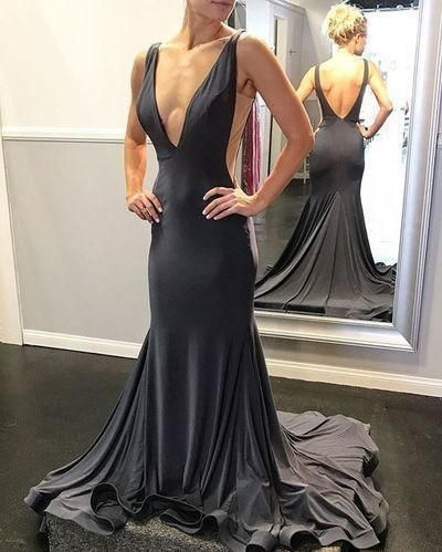 Sexy Black Simple Mermaid Prom Dress Deep V Neck Open Back Satin Formal dress  cg11132