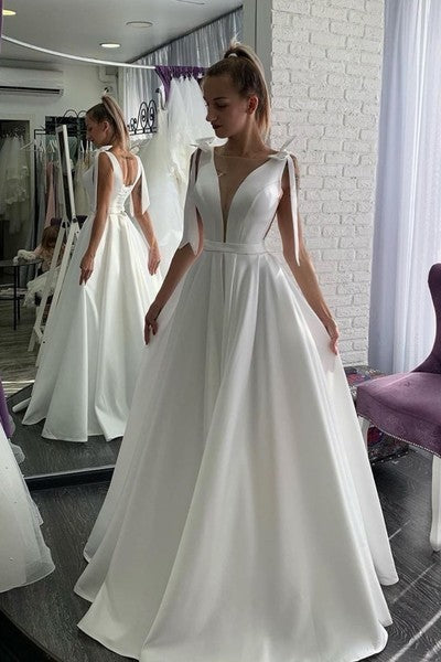 Simple White Satin A Line Wedding Dress Sexy Open Back prom dress   cg11134
