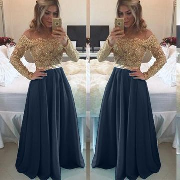 Sexy Blue A-line Long Sleeves Zipper Beading Prom Dresses    cg11138