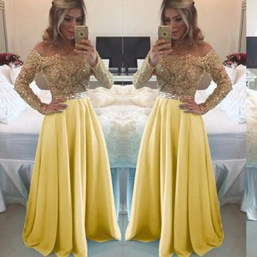 Sexy Yellow Long Sleeves Beading Prom Dresses    cg11139