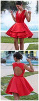 Red Short Cocktail Dress with Open Back,Simple Homecoming Dresses cg1113