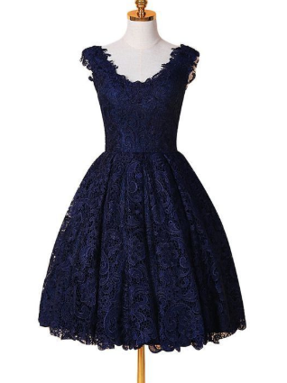 A-Line V-Neck Blue Lace Homecoming Dress,Simple Homecoming Dresses cg1115