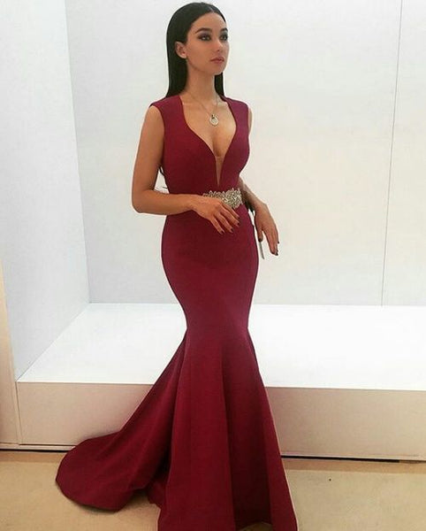 Mermaid V Neck Prom Dress    cg11166