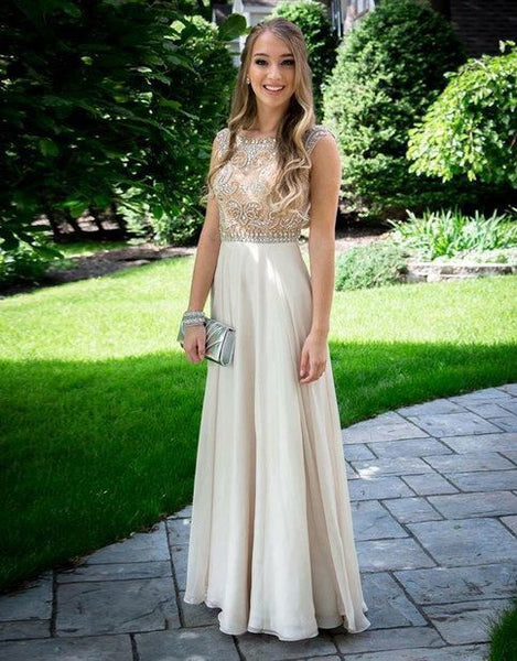Champagne round neck A-line chiffon long prom dress. evening dresss    cg11180