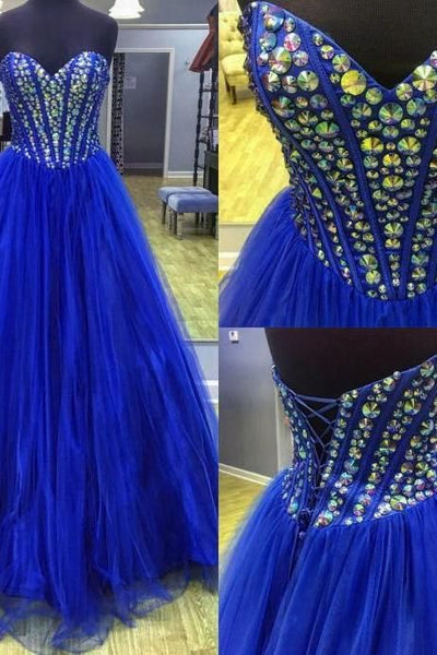 Royal Blue Ball Gowns Prom Dress Sweetheart Quinceanera Dresses,organza Prom Gowns,prom Dress   cg11189