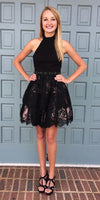 A-Line Halter Backless Short Black Homecoming Dress with Lace,Simple Homecoming Dresses cg1118