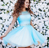 Blue Tulle Open Back Homecoming Dress with Beading,Simple Homecoming Dresses cg1119