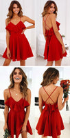 Red Backless Cross Drawstring Ruffles Bundle Waist V-Neck Strap Mini Dress ,cute homecoming dress cg112