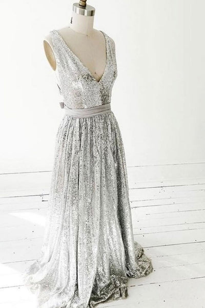 Simple gray v neck sequin long prom dress gray formal dress   cg11205