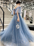 BLUE TULLE BALL GOWN DRESS PROM EVENING DRES   cg11208