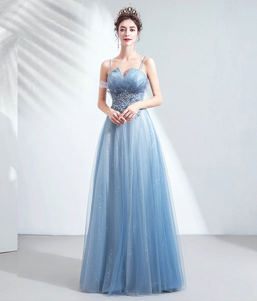 BLUE TULLE LACE LONG PROM GOWN FORMAL DRESS   cg11209
