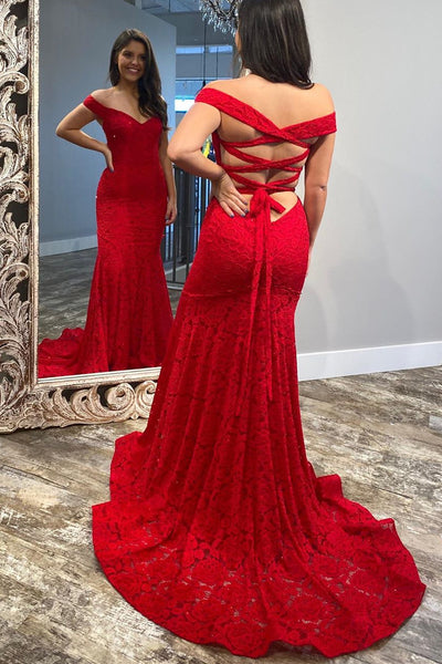 Off the Shoulder Mermaid Red Lace Evening Dress Prom Dress   cg11218