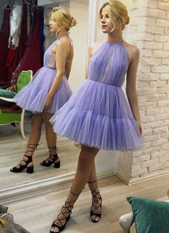 Unique A-Line Halter Backless Pleated Lavender Tulle Homecoming Dress,Formal Homecoming Dress cg1122