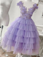 Purple tulle appliqué short homecoming dress, homecoming dress cg1123