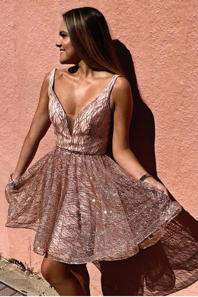 Sparkling Sequins Straps Short Homecoming Dress cg1124