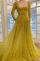 Long Sleeves Prom Dress With Beading   cg11255