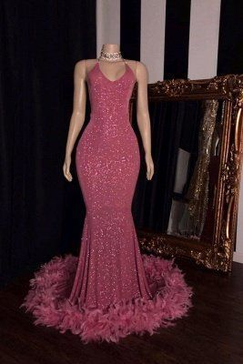 Fashionable Spaghetti Straps V-neck Sequined Mermaid Prom Dresses   cg11258