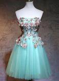 Homecoming Dresses Short A-line Strapless Short/Mini Sleeveless Tulle Homecoming Dress cg1125