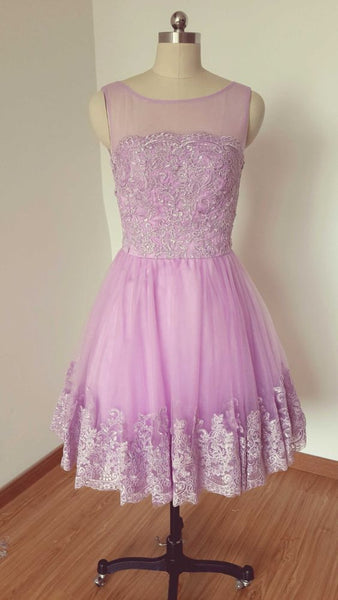 Lilac Lace Tulle Short Homecoming Dress    cg11261