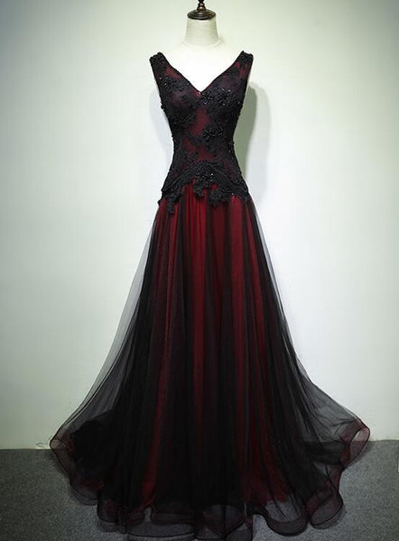 Gorgeous Black And Red V-Neckline Tulle Beaded Prom Dress, Long Evening Gown   cg11267