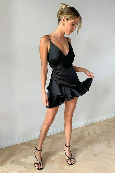 Black Mini Dress, Short Party Dresses, Summer Outfit, Cocktail Party Dress homecoming DRESS   cg11288