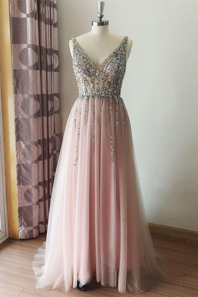 sparkle silver sequins pink tulle long formal dress prom dress   cg11299