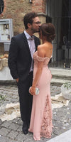 floor length fitted pink wedding guest dress with off the shoulder prom dress    cg11326