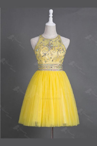 2019 Yellow Tulle Homecoming Dress cg1132