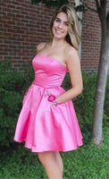 A-Line Strapless Above-Knee Fuchsia Homecoming Dress with Appliques Pockets   cg11335