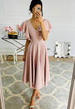 PINK V NECK SHORT PROM DRESS PARTY DRESS   cg11350