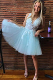 A-Line V Neck Tulle Short White Homecoming Dress   cg11356