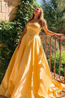 simple yellow long prom gown formal dress with strapless neckline   cg11358