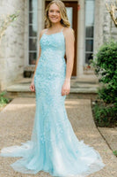 light blue lace mermaid long evening dress prom dress formal dress   cg11359
