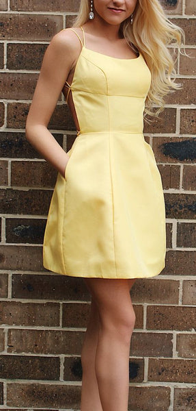 Simple Short Yellow Homecoming Dress with Pockets cg1135