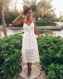 Cute V Neck Spaghetti Straps White Lace Party Dresses  prom Dresses   cg11376