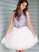 Cute A-Line Round Neck White Tulle Short Homecoming Dress   cg11383