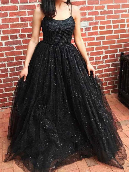 Stunning A-Line Scoop Neck Cross Back Black Sequins Tulle Long Prom Dresses    cg11388