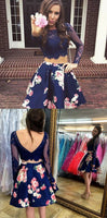 Cute Two Piece Bateau Long Sleeves Lace Short Blue Floral Homecoming Dress  cg1138