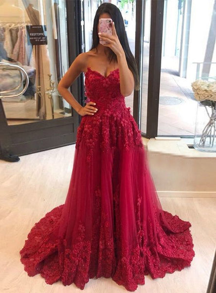 Gorgeous Ball Gown Dark Red Prom Dresses with Appliques   cg11390