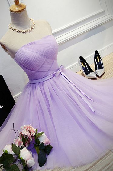 ,A Line Strapless Tulle Bridesmaid Dresses,Short Dress homecoming Dress   cg11393