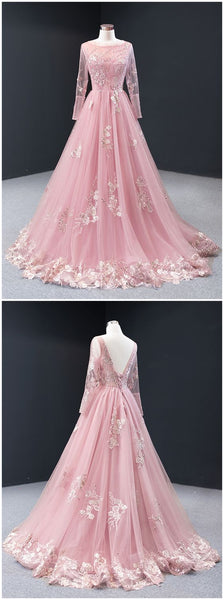 Pink Tulle Long Sleeve A Line Customize Lace Formal Prom Dress, Evening Dress   cg11398