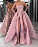 Strapless Bodice Corset Long Satin Leg Split Evening Dresses Prom Dress   cg11400