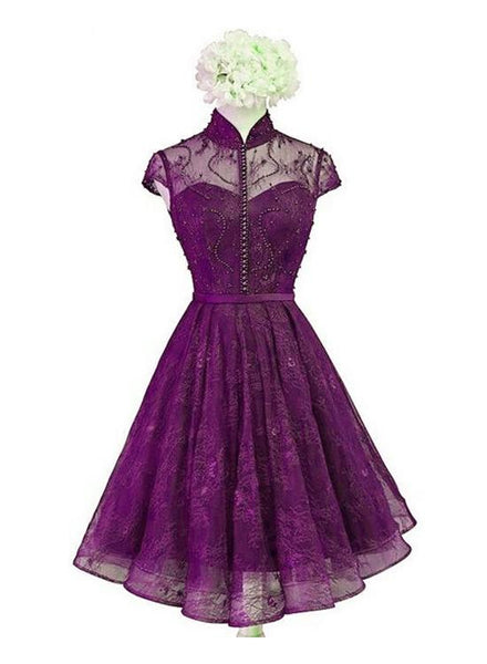 Beautiful Purple Lace Knee Length High Neckline Party Dress, Lace Wedding Party Dress Homecoming Dress    cg11408