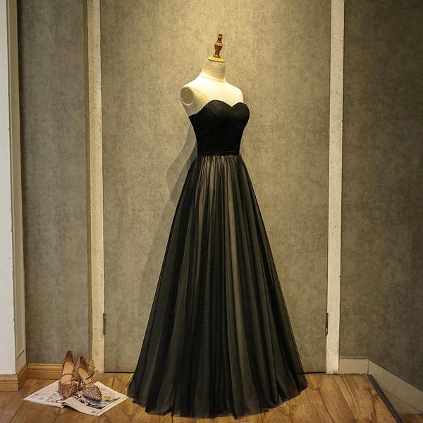 Simple Black Sweetheart A-Line Long Tulle Party Dress, Black Evening Gown Prom Dress   cg11413