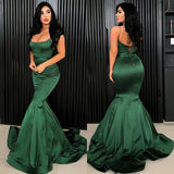 Simple Long Mermaid Satin Evening Dress Spaghetti Straps Boat Neckline Sweep Train Formal Prom Dresses   cg11424